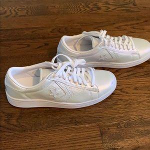 Brand new metallic white converse sneakers. NWOB